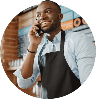 A waiter on the phone