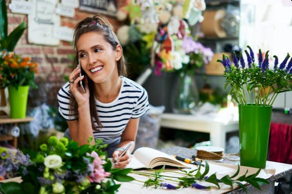 flower shop owner on phone