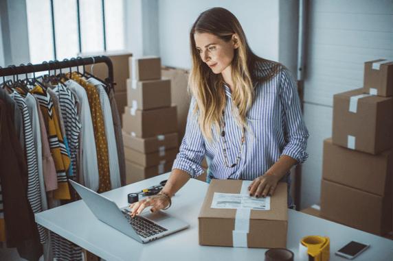 woman preparing shipment