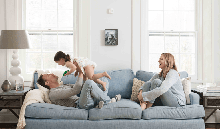family playing together in living room