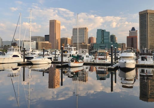 Exterior shot of a city skyline and boats moored at a harbor.