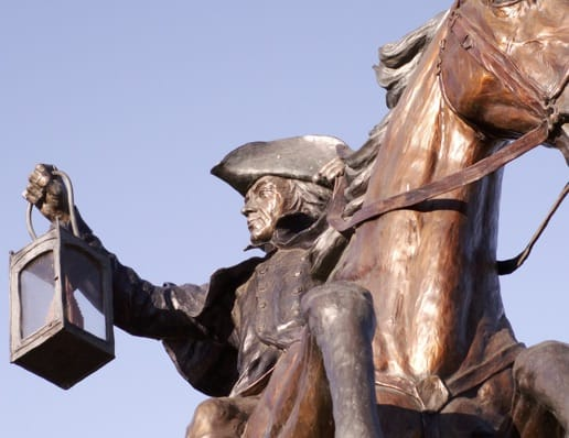 A statue of Paul Revere.