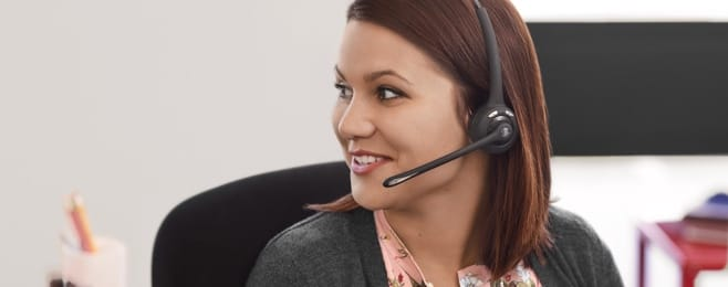 woman on phone headset