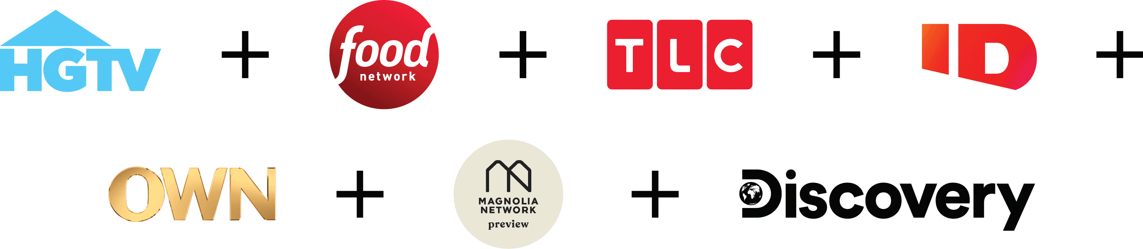 HGTV, Food Network, TLC, ID, Own, Magnolia Network, Discovery