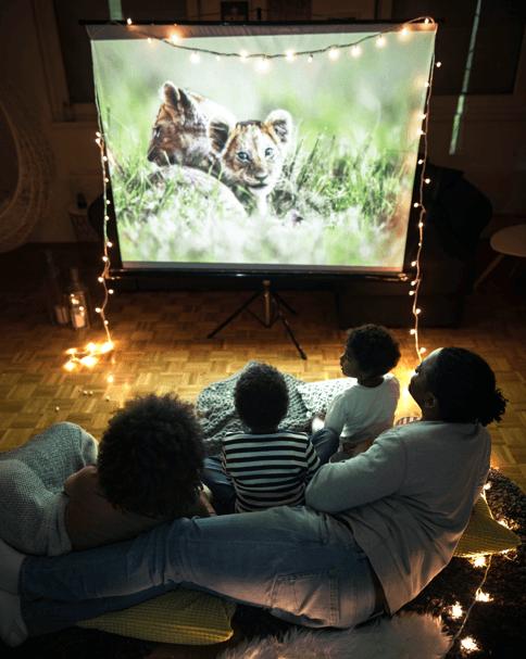 A family having a movie night