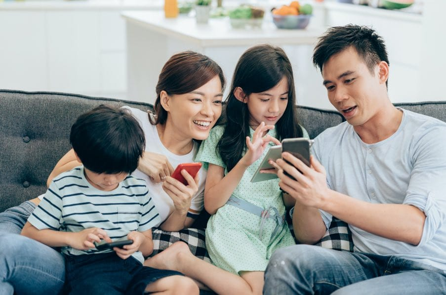 Family using wireless devices