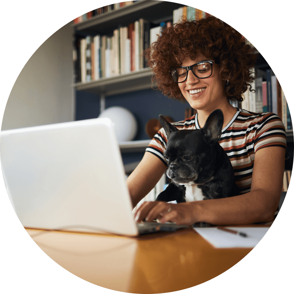 Woman and her dog looking at ATT internet options