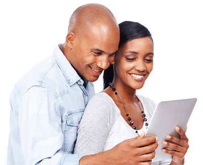 Happy couple enjoying CenturyLink Internet on a tablet