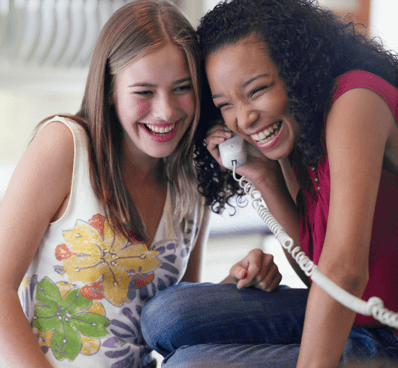 teens talking on phone