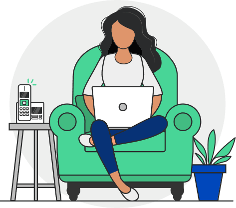 illustration of a woman on a computer in an armchair