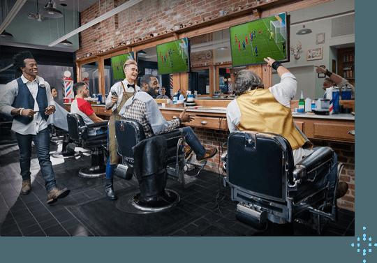 people getting haircuts