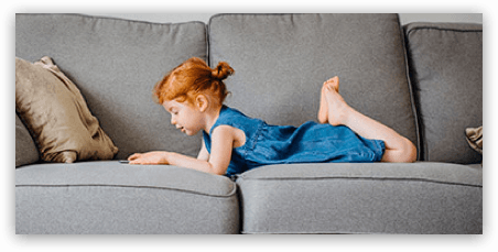 child on couch