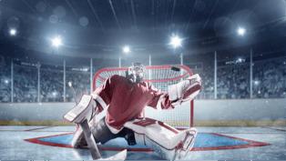 hockey goaling saving a shot