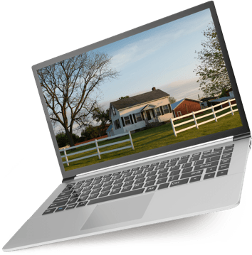 Laptop with farm wallpaper