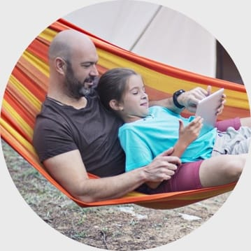 Father and Daughter camping