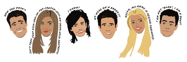 Animated icons of the stars of the TV series Friends.