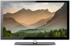 TV screen with mountain background