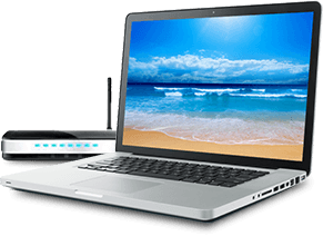 Laptop with beach screensaver