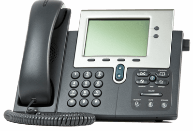 A black, corded office phone