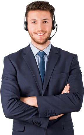 A man in a suit with headset