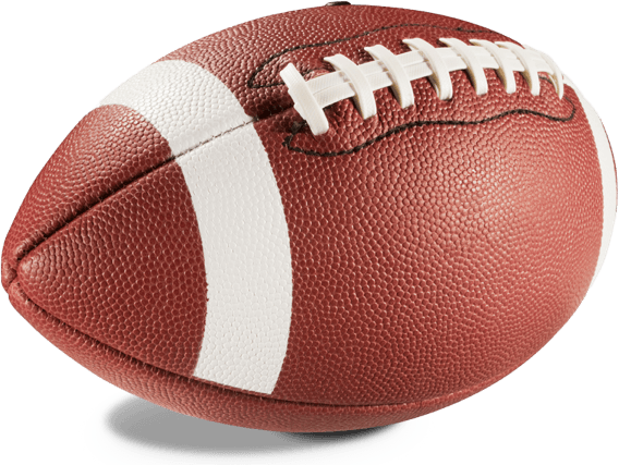 A brown and white American football