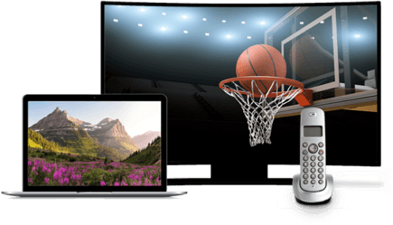 A laptop, landline phone, and TV depicting a basketball hoop