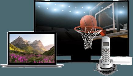 A laptop, landline phone, and TV depicting a basketball hoop