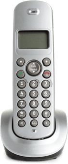 A slim, cordless, silver landline phone