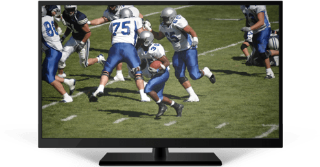 A black smart TV depicting five football players scuffling