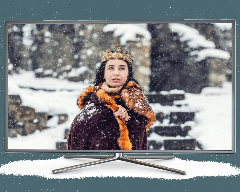 A black smart TV depicting a queen