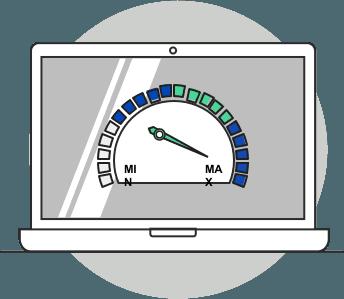 illustration of an internet speed gague