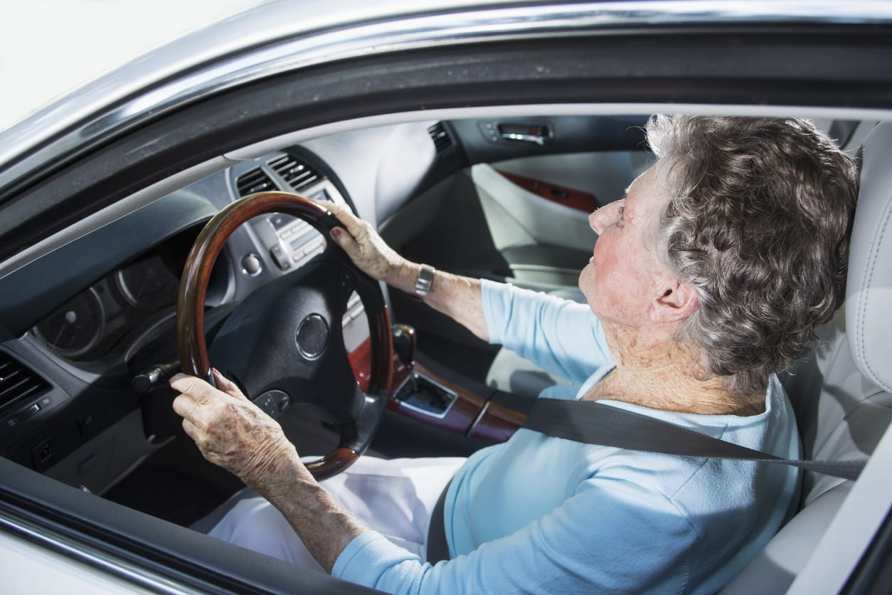 old woman driving