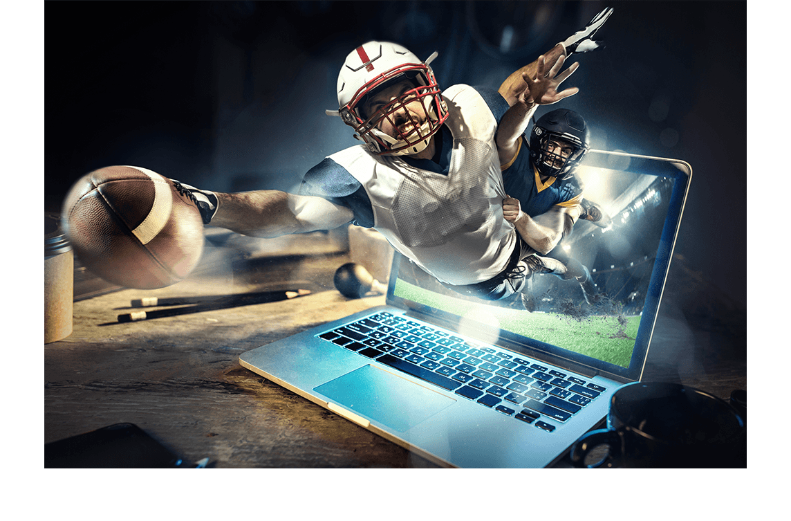 football playing flying out of laptop