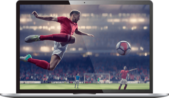 laptop with soccer