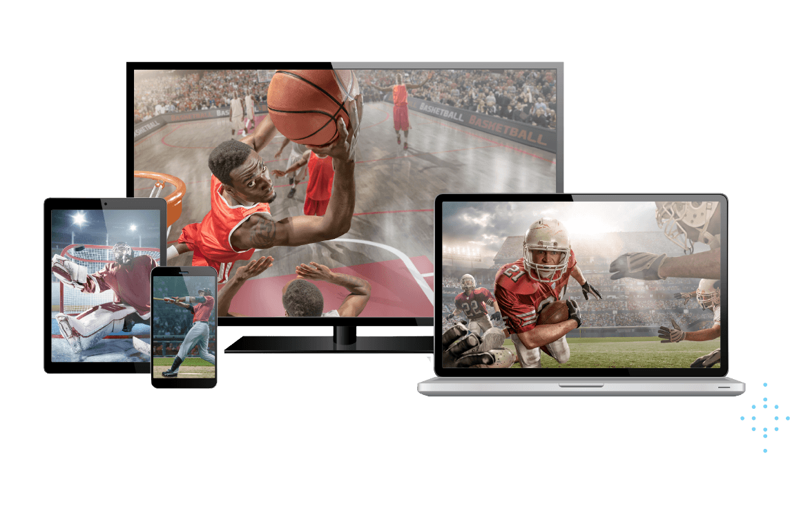 multiple devices showing sports content