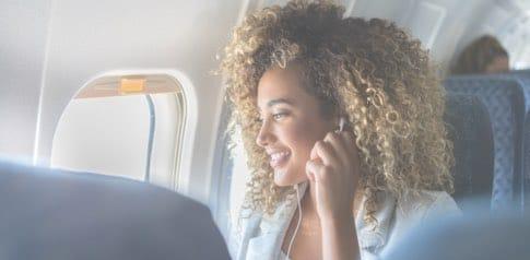Woman on a plane