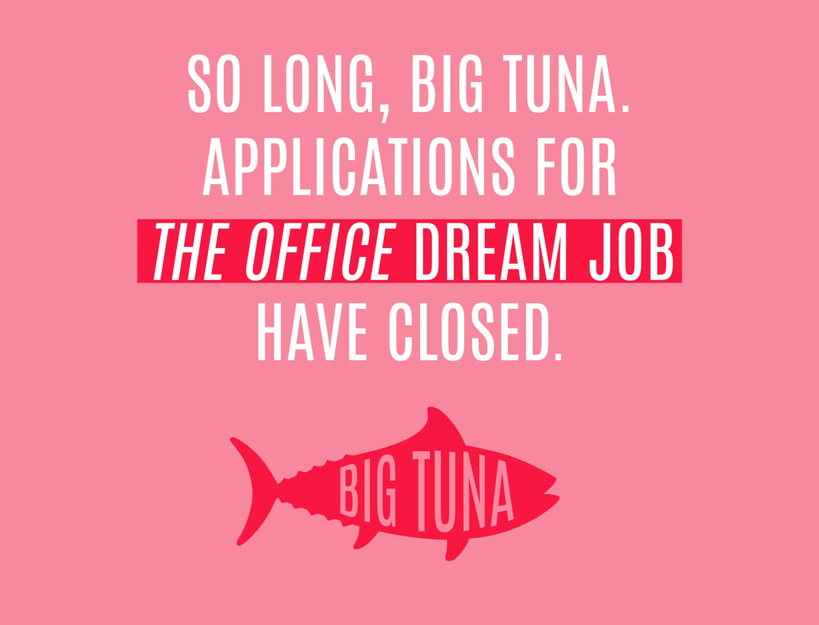 So Long, Big Tuna, applications for The Office dream job have closed