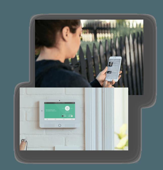 Woman on mobile app and Vivint Hub