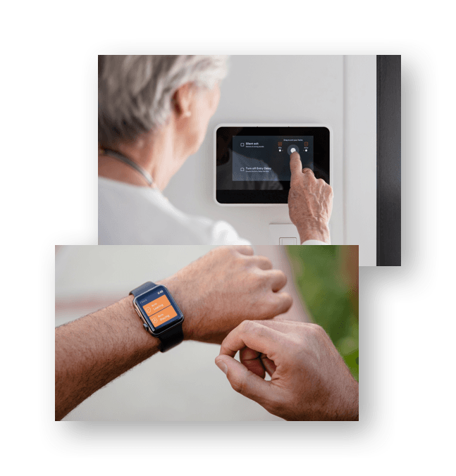 woman using hub and person using vivint app on apple watch