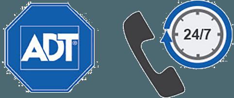 ADT logo and twenty four seven phone icon