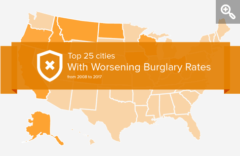 Graphic of United States with worsening burglary rates banner
