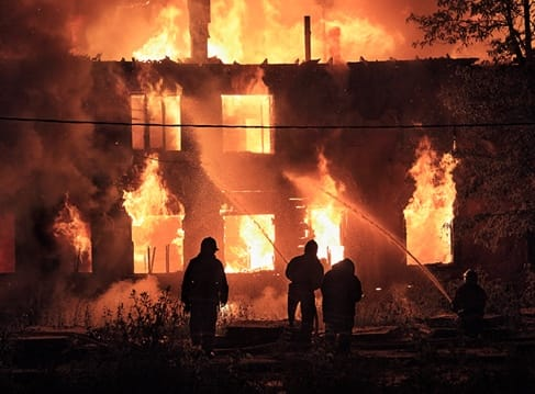 Firefighters putting home on fire out