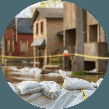 Sandbags being used to stop flood waters
