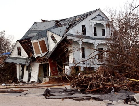 Home that was damaged by severe tornado