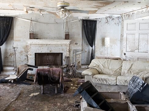 Home that was damaged by flood waters