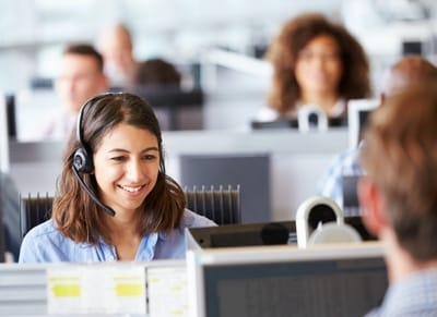 A customer service rep with a headset