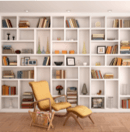 Home library bookshelf with lounge chair in front