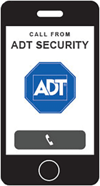 Cell phone icon being called by ADT security