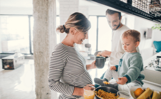 Image of family in kitchen